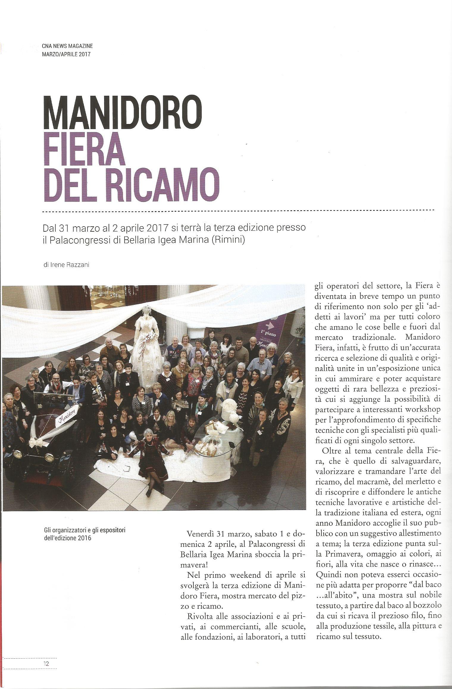 """Cna News Magazine, marzo-aprile 2017 Manidoro Fiera mostra """"dal baco da seta...all'abito"""""""