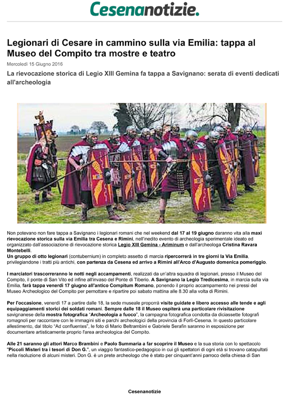 Cesena Notizie 15-06-2016 Legionari in marcia sulle orme di CesareLegionari di Cesare sulla via Emilia