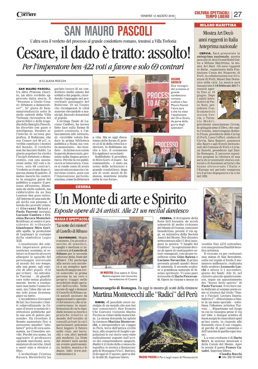 Corriere Romagna, 12-08-16, Processo a Cesare