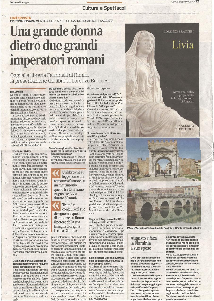 Corriere Romagna, 2-2-2017 Presentazione Livia di Braccesi.
