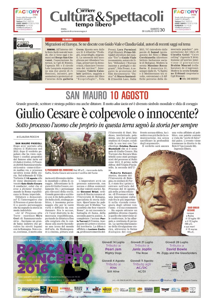 Corriere Romagna, 30-07-16 Processo a Cesare