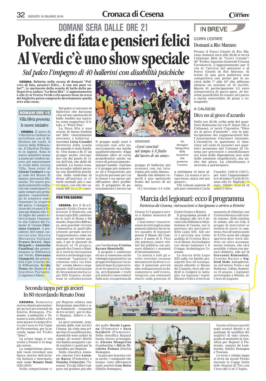 Corriere Romagna (Valle del Rubicone) -16-06-2016 Legionari in marcia sulle orme di Cesare marcia Legionari via Emilia