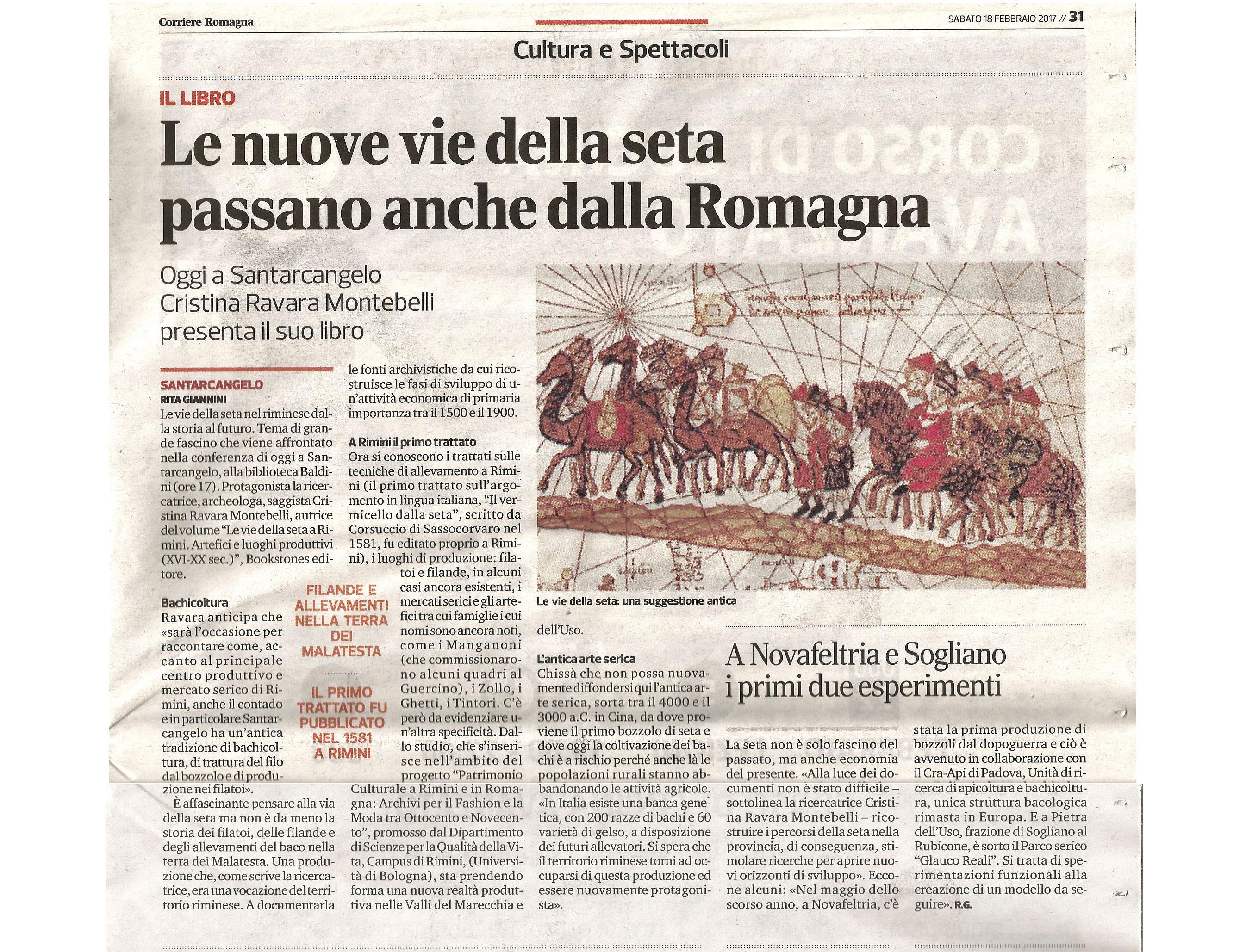 """Correre Romagna, 18-02-2017 Presentazione libro """"Vie della seta a Rimini"""""""