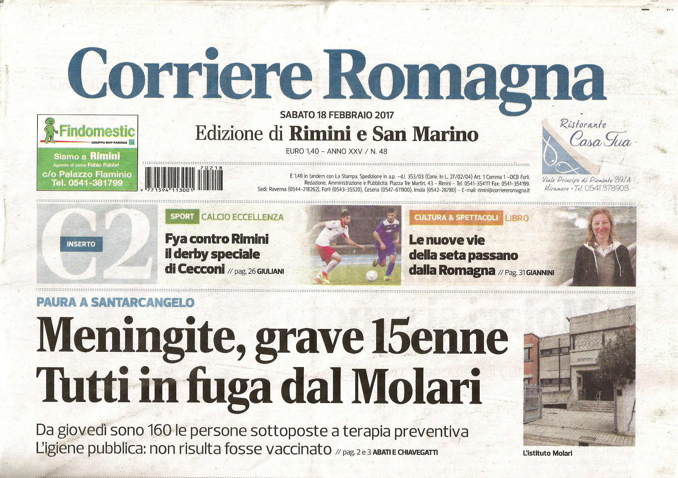 """Corriere Romagna, 18-02-2017 recensione libro """"Le vie della seta a Rimini"""""""