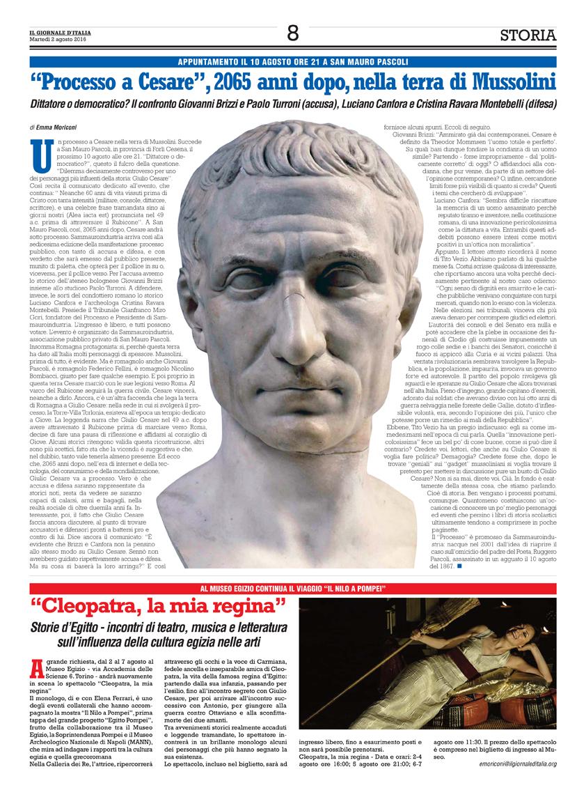 Il Giornale d'Italia, 2-08-16 Processo a Cesare.