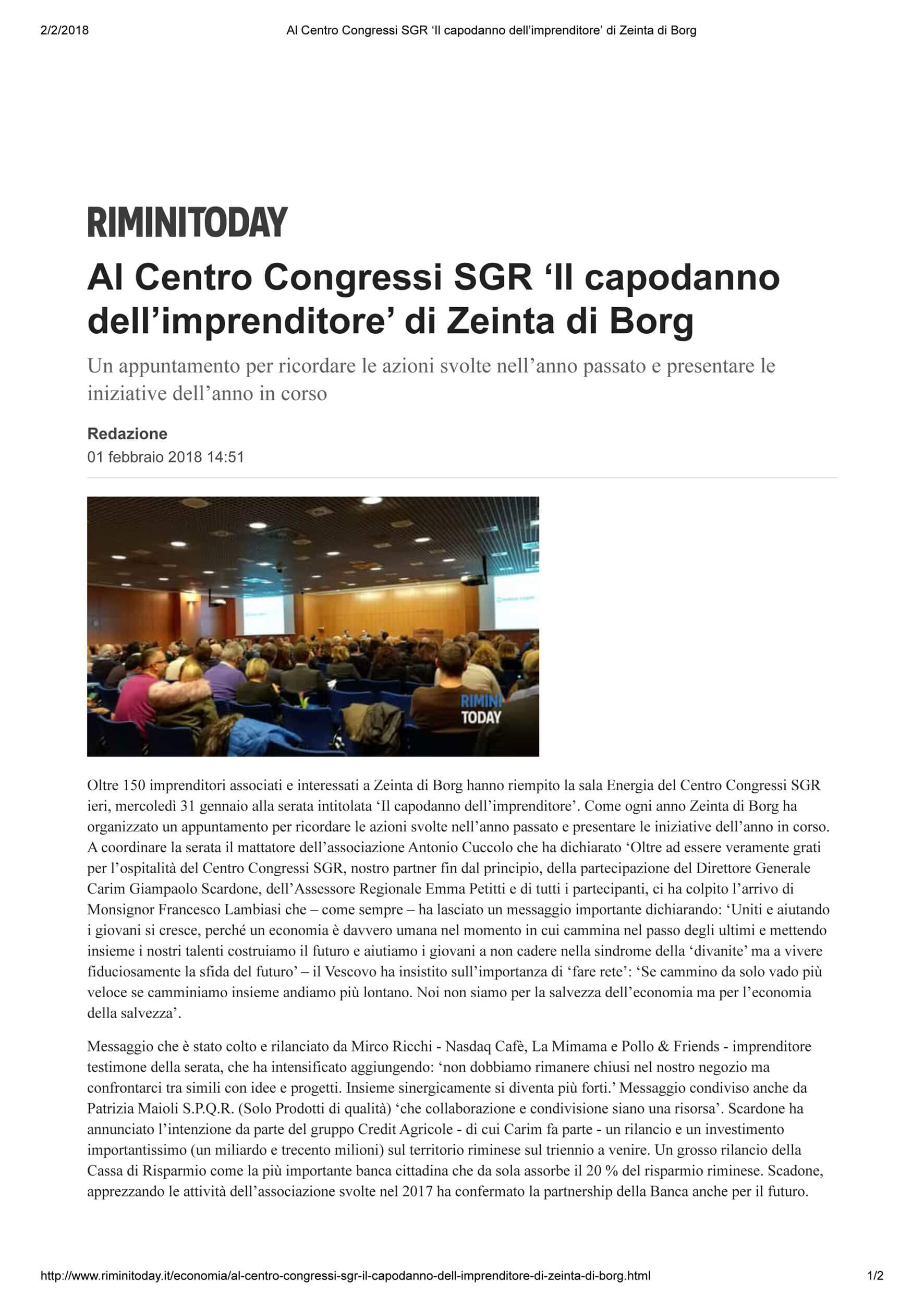 Rimini Today 1-2-2018 Capodanno dell'Imprenditore