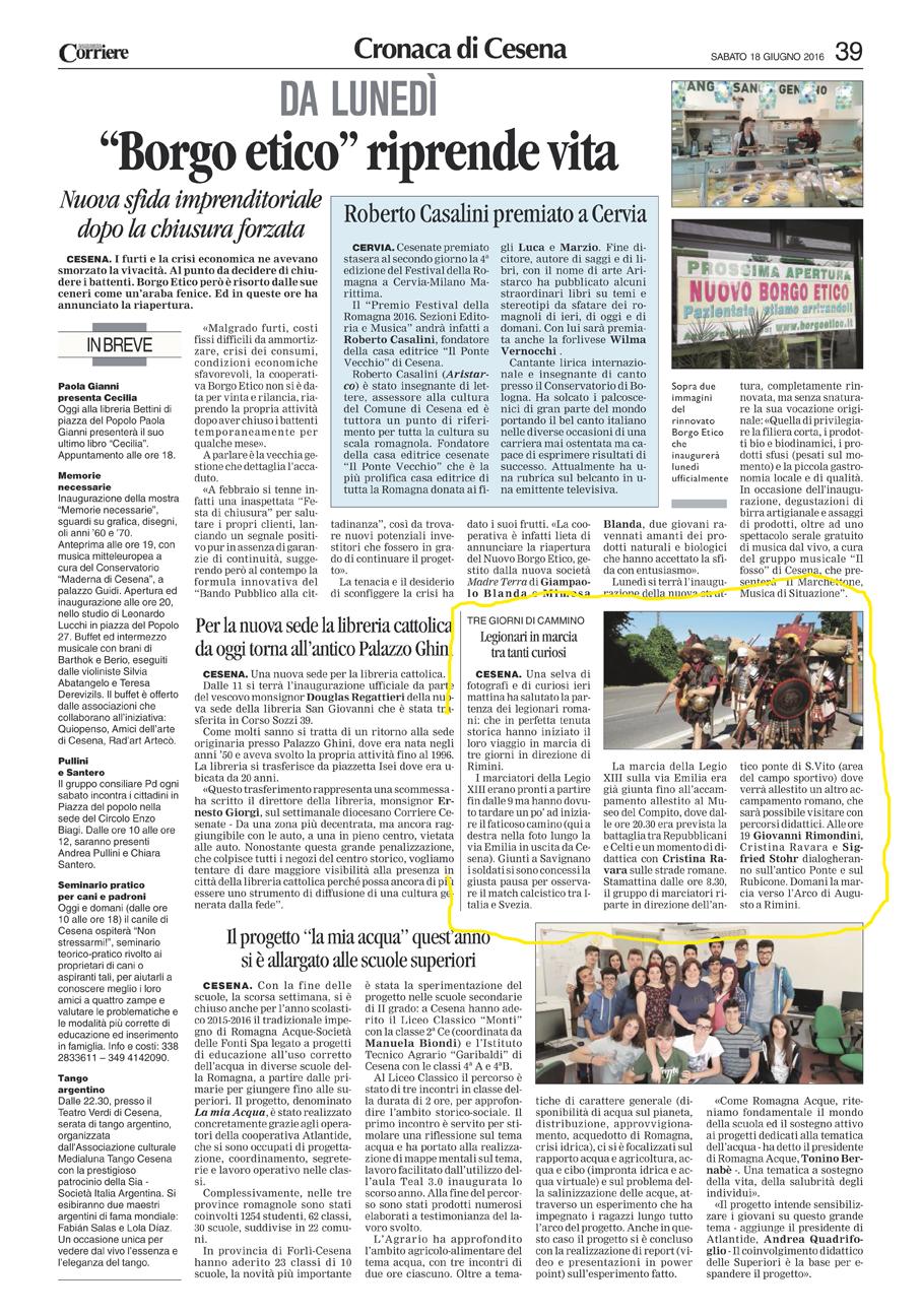 Corriere Romagna (Cesena) 18-06-2016 Legionari in marcia sulle orme di Cesare