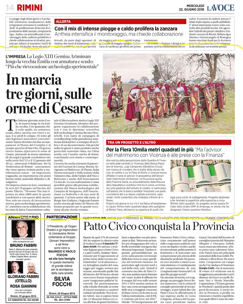 La Voce di Romagna (Cesena) 22-06-2016 Legionari in Marcia sulle orme di Cesare