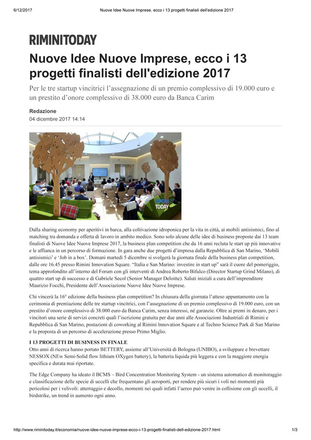 Rimini Today, 6-12-17 Finalisti a Nuove Idee Nuove Imprese