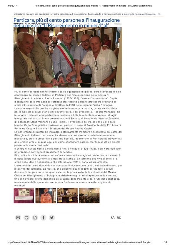 """Altarimini, 4-03-17 Perticara Inaugurazione mostra Pirazzoli, """"Il Risorgimento in miniera"""" al Museo Sulphur di Perticara zione mostra Pirazzoli."""
