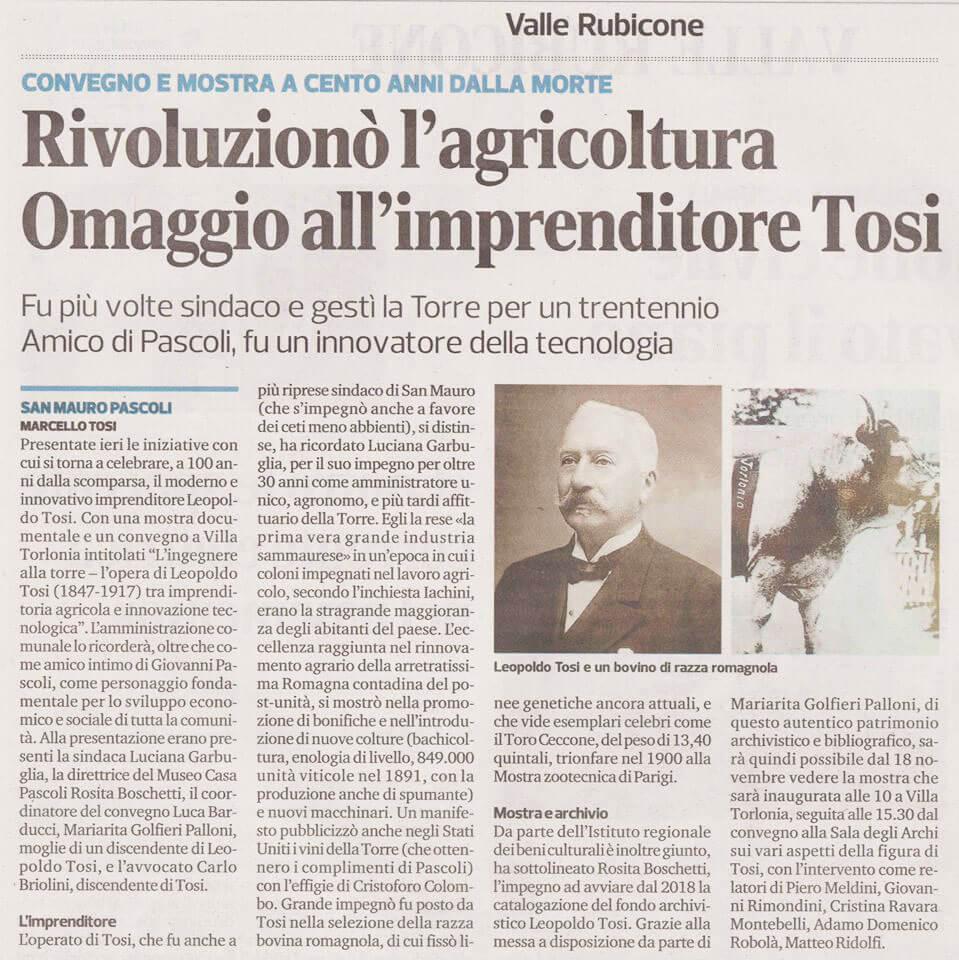 Corriere Romagna, San Mauro Pascoli 11-11-2017 Convegno su Leopoldo Tosi