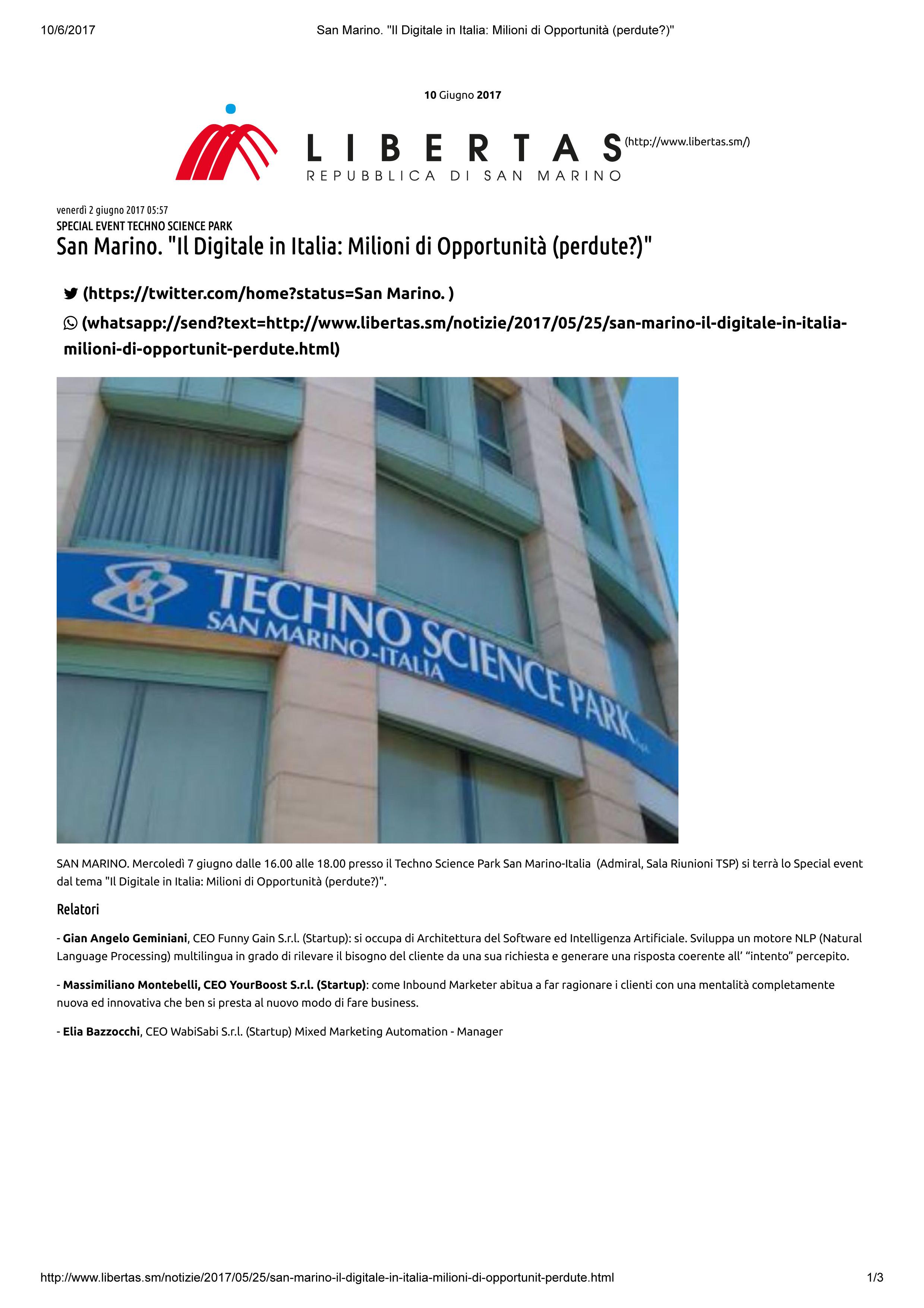 """Libertas news, San Marino, Convegno """"Il Digitale in Italia: millioni di Opportunità"""", 10-6-2017"""