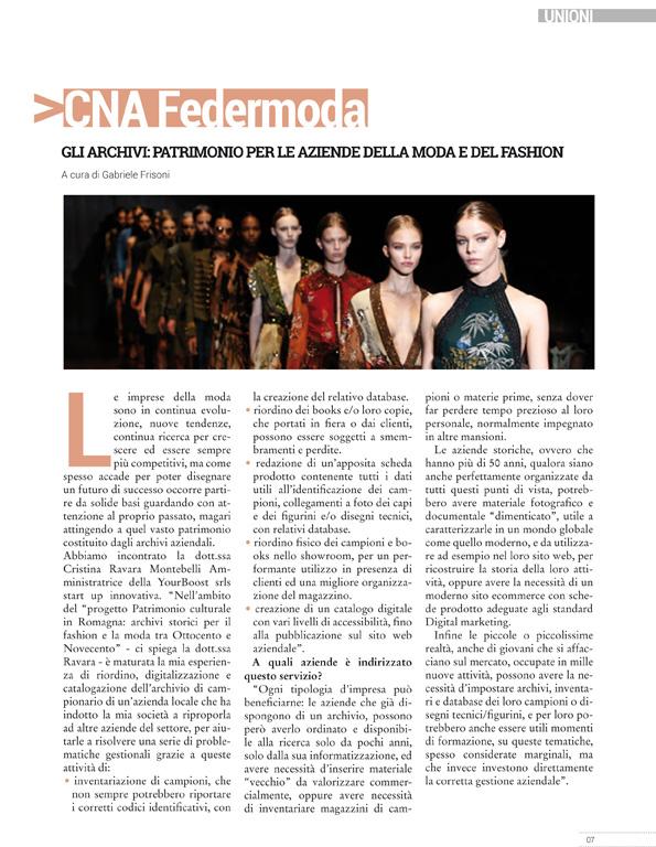 """Cna News Magazine, Ottobre 2016, """"Archivi: patrimonio per le aziende moda"""""""