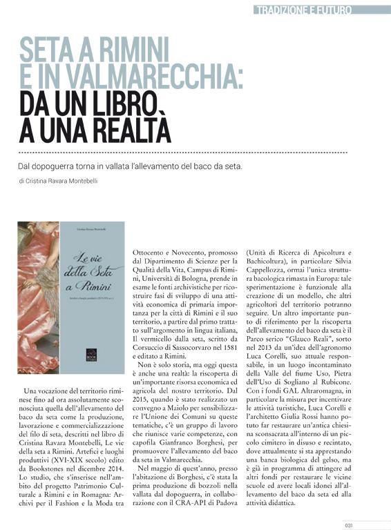 """Cna News Magazine, Ottobre 2016, """"Seta a Rimini e in Valmarecchia: da un libro a una realtà"""""""