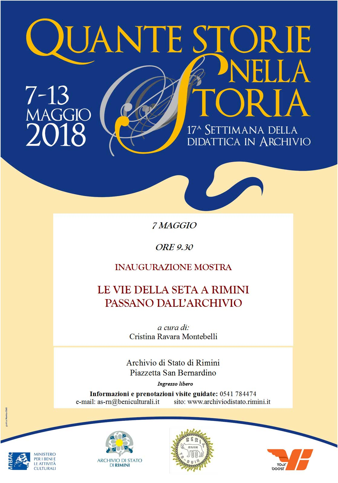 """Mostra curata da Cristina Ravara Montebelli """"Le vie della seta a Rimini passano dall'Archivio"""", presso l'Archivio di Stato di Rimini 7 maggio 2018"""