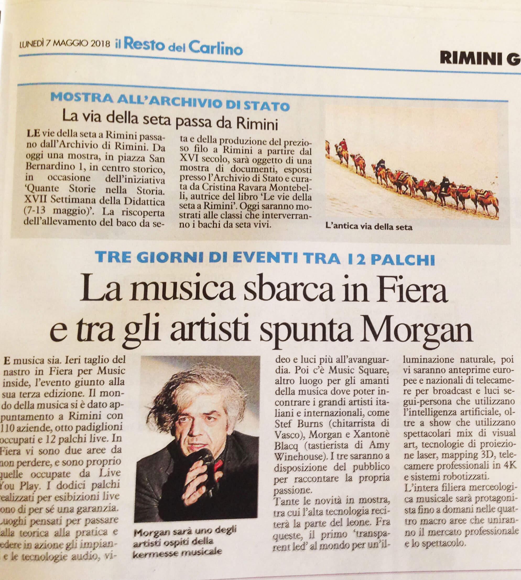 """Il Resto del Carlino, 7-5-2018 mostra """"Le vie della seta a Rimini"""""""