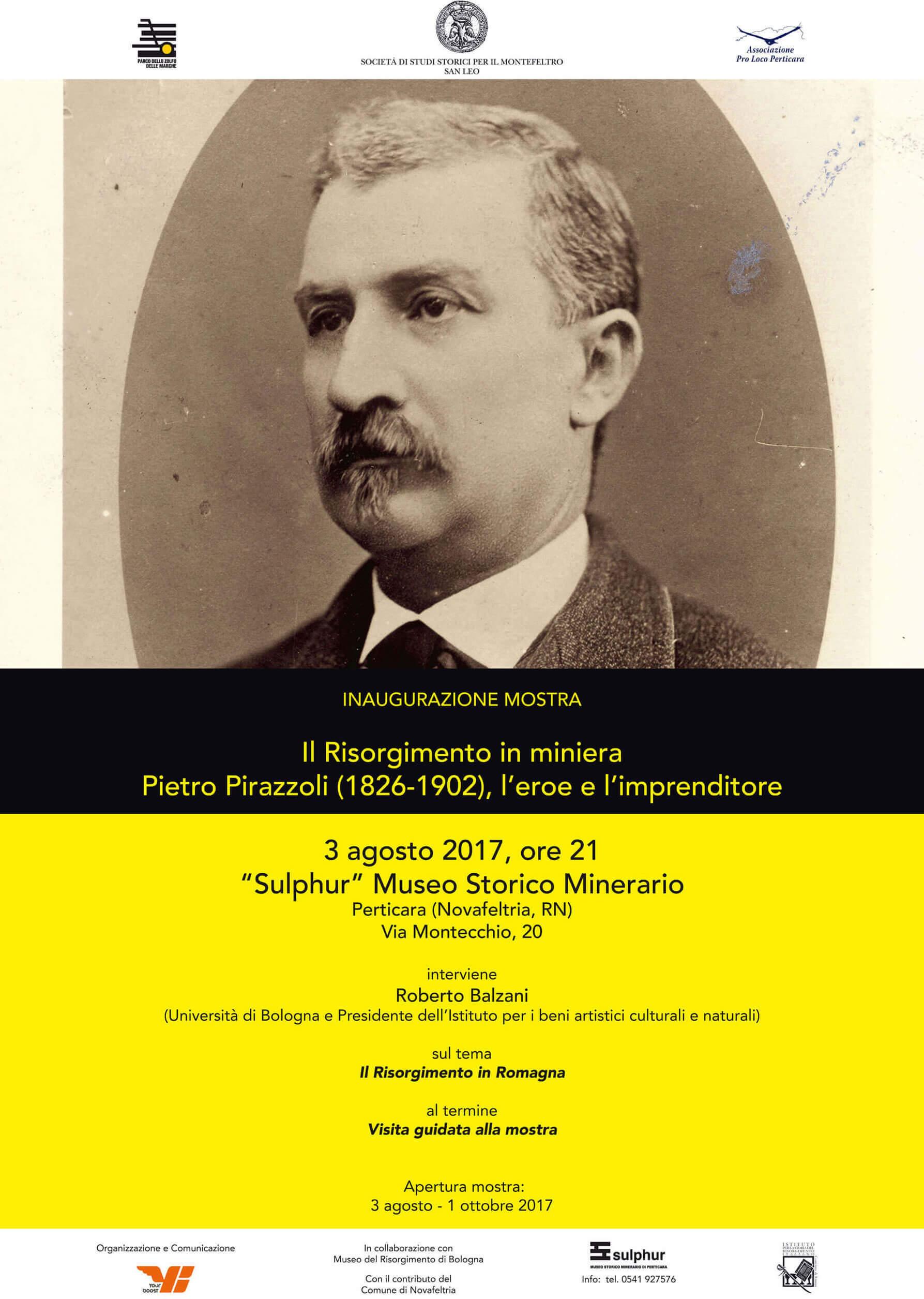 """Locandina mostra """"Il Risorgimento in miniera. Pietro Pirazzoli (1826-1902)""""."""