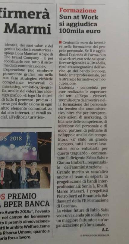 Gazzetta di Parma, Parma 03-07-18 Sun vince 100mila euro per la formazione
