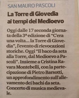 """Corriere Romagna, San Mauro Pascoli 25-8-18 """"Il baco da seta alla Torre"""""""