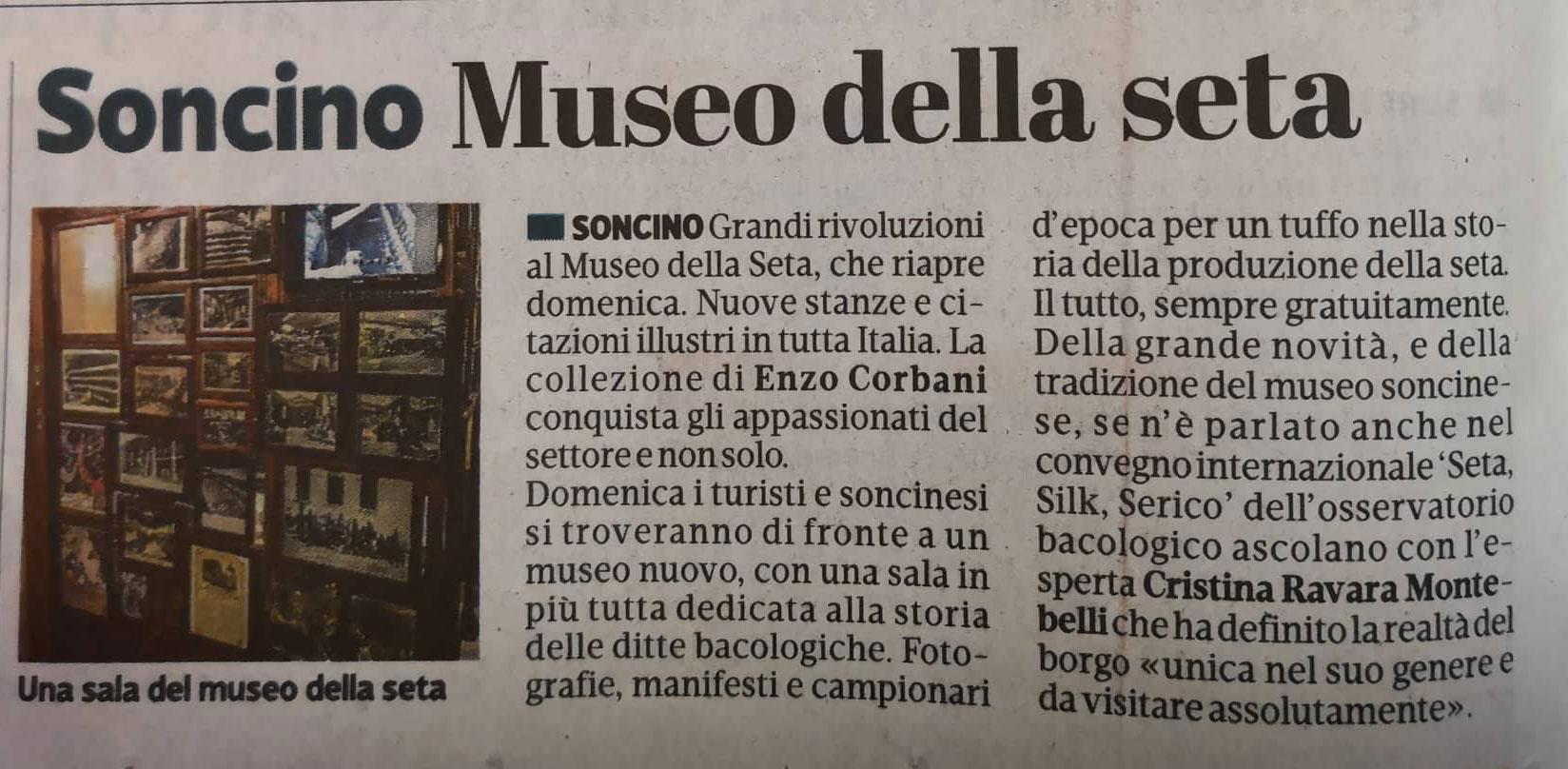 La Provincia di Cremona, Cremona 12-10-18 Cristina Ravara Montebelli sul Museo della seta di Soncino
