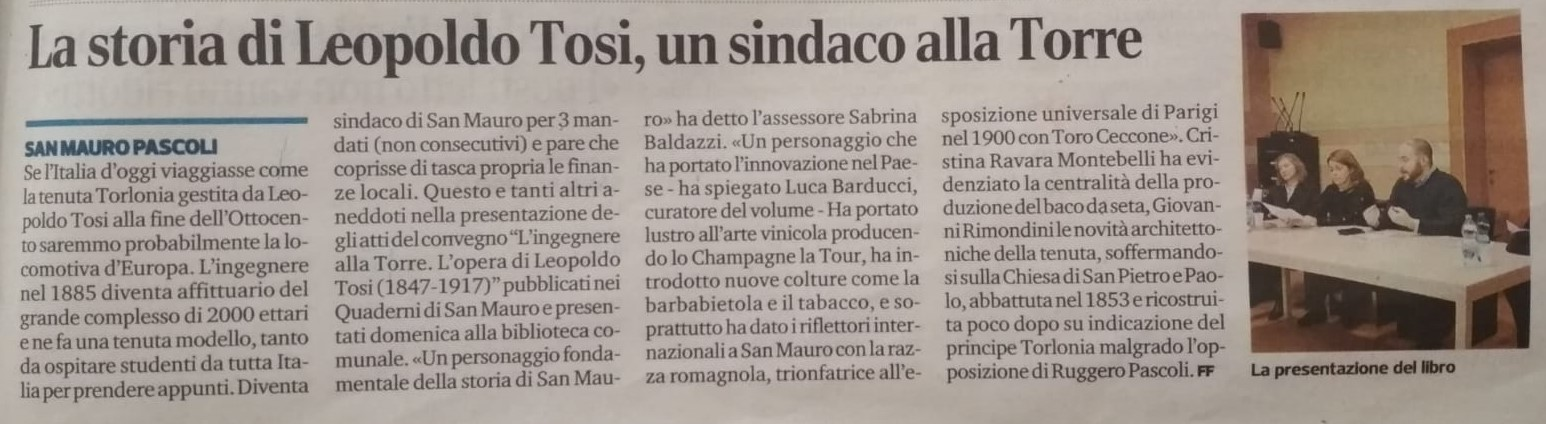 Corriere Romagna, San Mauro Pascoli 27-11-2018 Leopoldo Tosi