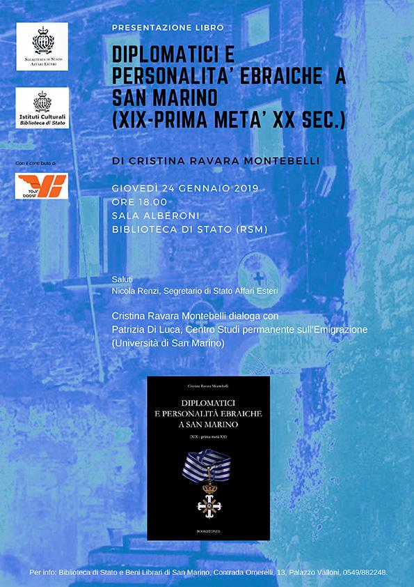 """Presentazione libro di Cristina Ravara Montebelli """"Diplomatici e personalità ebraiche a San Marino""""."""