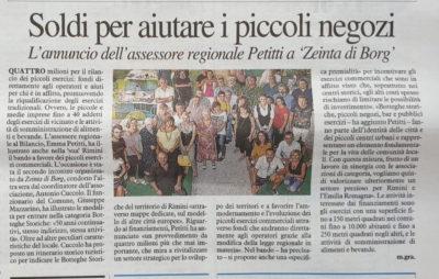 Corriere Romagna 29-8-2019, YourBoost per le Botteghe storiche con Zeinta di Borg 19