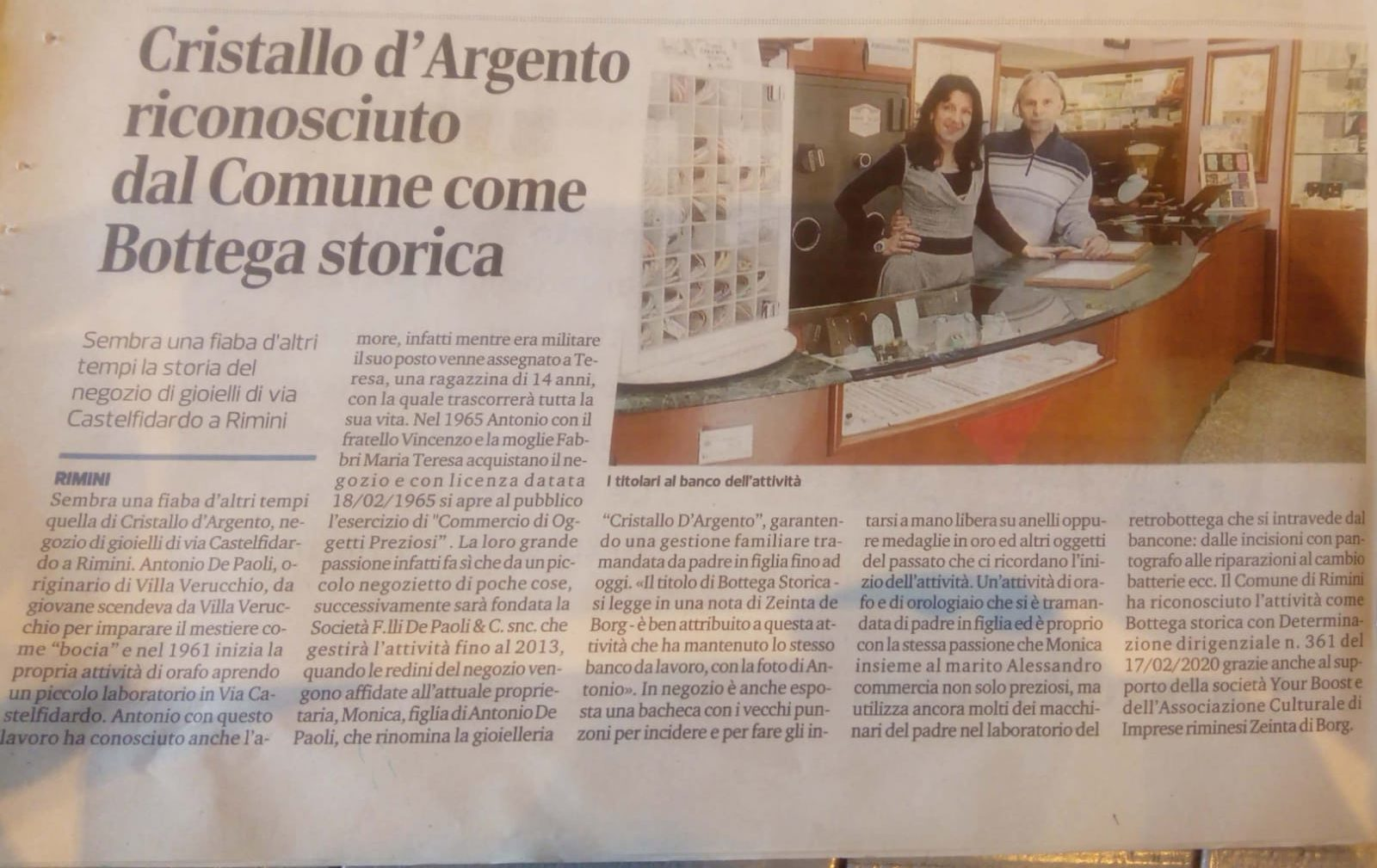 Corriere Romagna, Botteghe storiche 27-02-2020