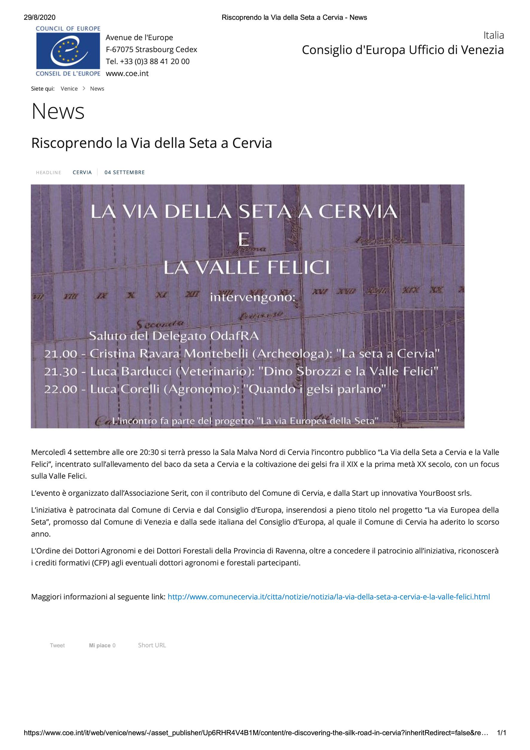 Seta a Cervia 4 settembre 2020 Consiglio d'Europa