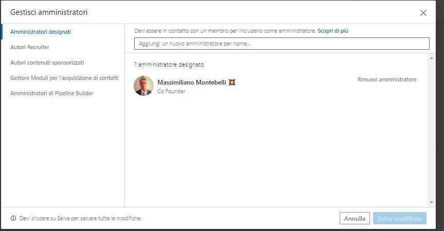Pagina LinkedIn Amministratori