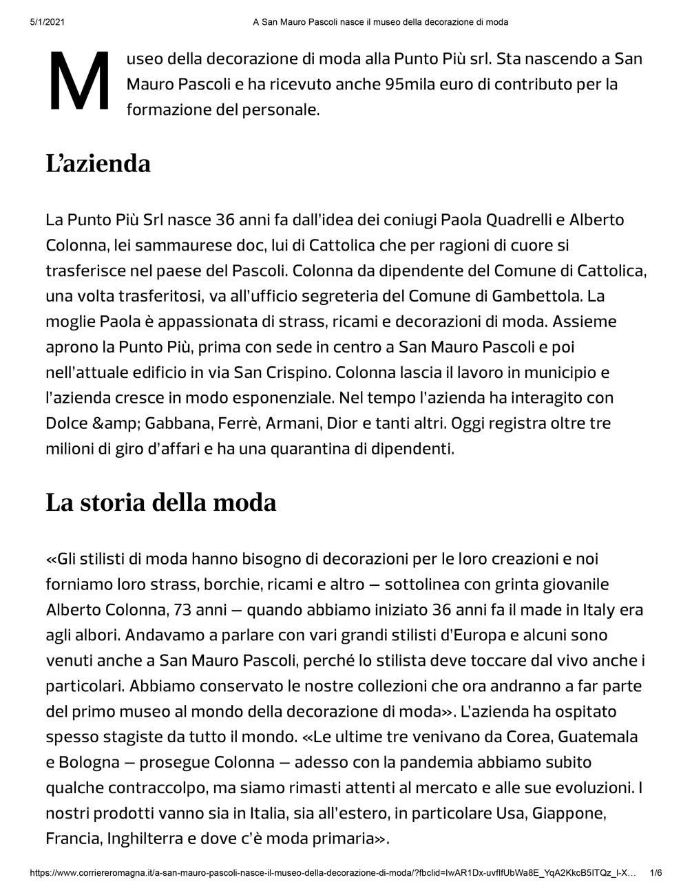 Punto Più di San Mauro vince Bando Fondimpresa per museo della decorazione di moda