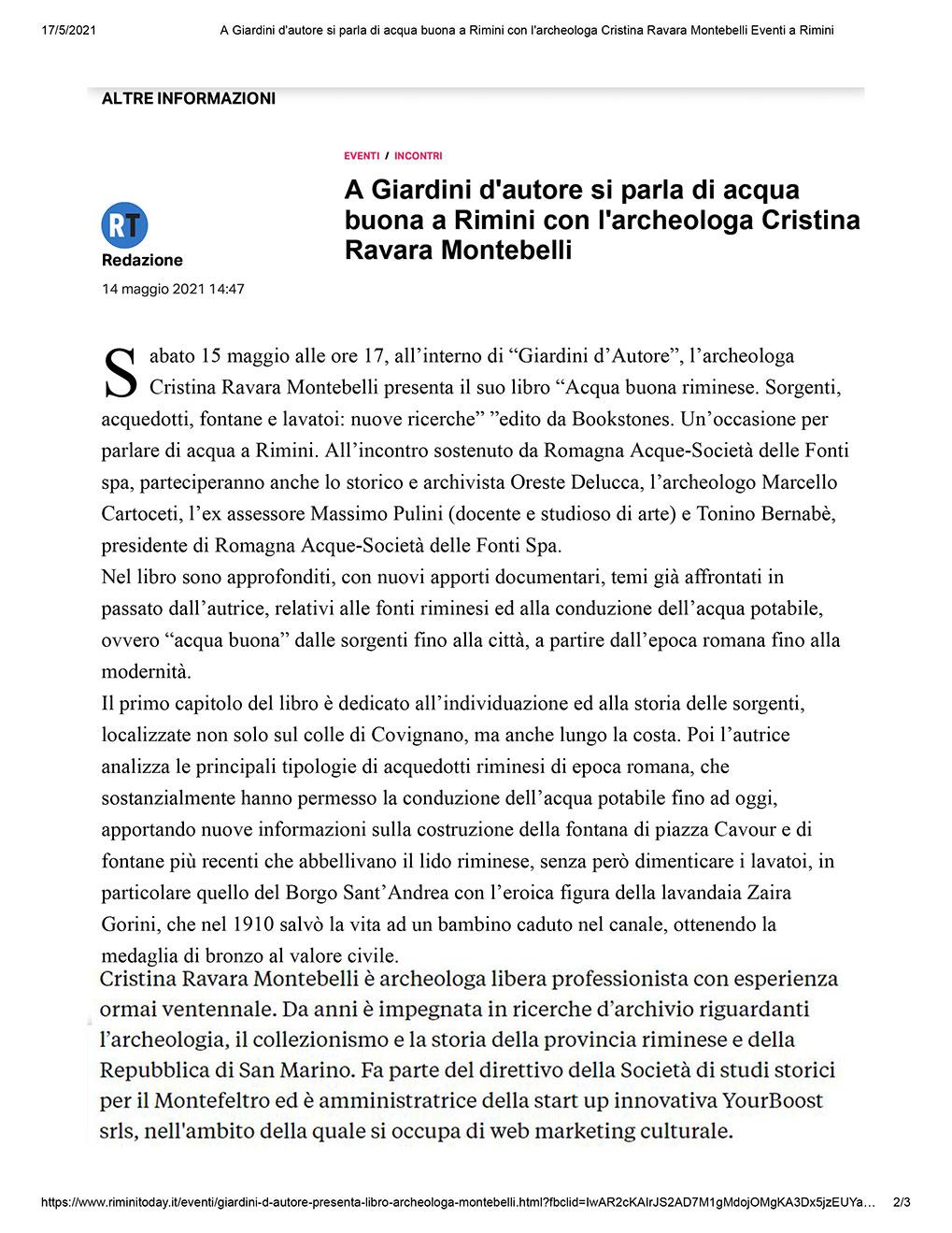 Presentazione libro Acqua buona riminese di Cristina Ravara Montebelli